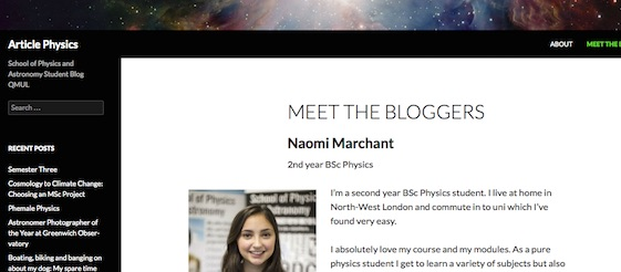 Physics and astronomy student blog QMUL
