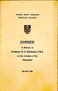 Dinner menu from retirement of HR Robinson